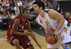 Allan Ray (15) and Saso Ozbolt (31) at basketball match of 3rd Round of Euroleague between KK Union Olimpija (SLO) and Lottomatica Roma (ITA), in Arena Tivoli, Ljubljana, Slovenia, on November 6, 2008. Lottomatica  won the match 78:67.