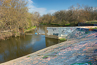 Graffiti on diversion dam of Salt Creek, Cook County Forest Preserve Illinois