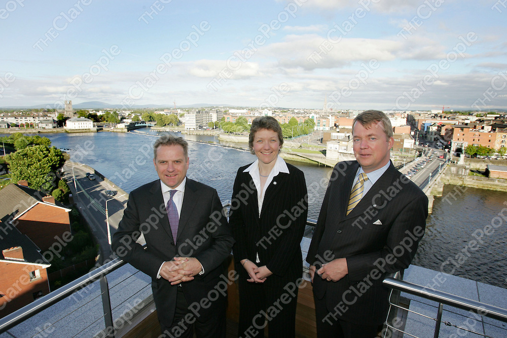 Simon Vincent, Aera President Hilton UK & Ireland , Claire Alderson General Manager Hilton Limerick  and Fredrick Schaefer, Aera General Manager Ireland  pictured on the Scenic 6th floor of the  Hilton Hotel Limerick during a visit by Simon Vincent to the Hotel.<br />Picture Credit: Brian Gavin/Press 22