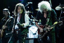 "© Licensed to London News Pictures. 16/09/2012. London, UK.  Micky Moody (L), Alice Cooper (Centre) and Brian May ® performs at The Sunflower Jam at the Royal Albert Hall.  The Sunflower Jam is a British charity, founded by Jacky Paice, wife of Deep Purple drummer, Ian Paice. Other high-profile supporters are the actor Jeremy Irons, ex-Jamiroquai bassist Nick Fyffe and Charles, Prince of Wales. The aims of the charity are to fund complementary therapists and spiritual healers to work on cancer wards in the British National Health Service. After setting up a meeting between members of Deep Purple and a young boy dying of leukemia, Paice saw ""all the good work the healers were doing"" and decided ""lets find a way to raise money to get more healers in there. Photo credit : Richard Isaac/LNP"