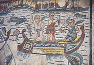 Detail of a Roman Mosaic from the Room of The Fishing Cupids, room 24, at the Villa Romana del Casale, first quarter of the 4th century AD. Sicily, Italy. A UNESCO World Heritage Site. .<br /> <br /> If you prefer to buy from our ALAMY PHOTO LIBRARY  Collection visit : https://www.alamy.com/portfolio/paul-williams-funkystock/villaromanadelcasale.html<br /> Visit our ROMAN MOSAIC PHOTO COLLECTIONS for more photos to buy as buy as wall art prints https://funkystock.photoshelter.com/gallery/Roman-Mosaics-Roman-Mosaic-Pictures-Photos-and-Images-Fotos/G00008dLtP71H_yc/C0000q_tZnliJD08