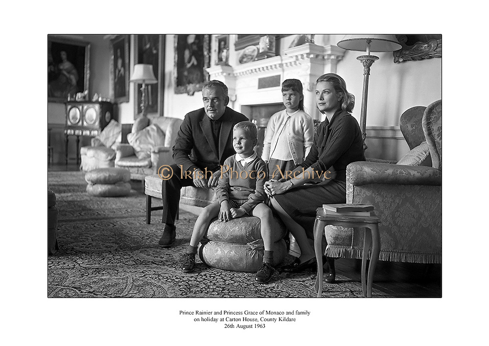 Prince Rainier and Princess Grace of Monaco and family pictured at Carton House, County Kildare.<br /> <br /> 26th August 1963<br /> <br /> 26/08/1963