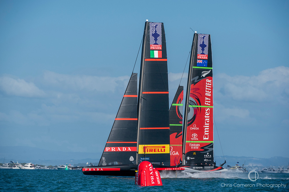 Emirates Team New Zealand and Luna Rossa Prada Pirelli Team start race ten. Wednesday the 17th of March 2021. Copyright photo: Chris Cameron