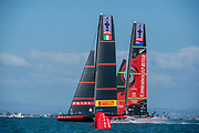 Emirates Team New Zealand and Luna Rossa Prada Pirelli Team start race ten. Wednesday the 17th of March 2021. Copyright photo: Chris Cameron