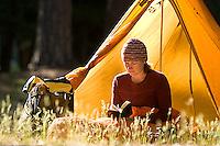 Sarah Meredith backpacking in Yosemite National Park, CA<br />