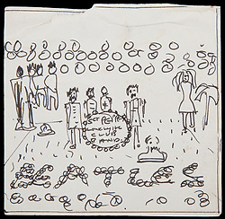 April 28, 2017 - Inconnu, inconnu - 27/04/2017 - A John Lennon outline sketch of the Beatles iconic Sgt Pepper album which he left behind when he moved home, is set to fetch up to $60,000 USD at auction.It pretty shows the found band members standing round a drum hit with the Sgt Pepper Lonely Hearst Cub name on it and the Beatles spelled out in flowers in front. Behind are figures which would be taken up by life-sized cutout of the band's heroes and people who influenced them.The classic album which this year celebrates its 50th anniversary was released in 1967s Summer of Love.The group's eighth album featured songs such as 'Lucy in the Sky with Diamonds', 'With a Little Help from My Friends' and 'A Day in the Life' Paul McCartney had the idea of the band , which had quit touring the previous year, taking on a different identity, inspired by the crazy named West Coast US band emerging at the time.Eventually British artist Peter Blake was given the responsibility of creating the sleeve which included a set of Pepper-themed cardboard cut-outsThe final sleeve was pretty much in keeping with the Lennon sketch.John, Paul, George Harrison and Ringo Starr wore shiny, brightly coloured, faux military uniforms surround by the cut-outs. Lennon's sketch showing an early scheme for the sleeve was made at the house he shared with first wife Cynthia known as Kenwood in Surrey, UK. It was here that he also wrote some of the most famous Beatles songs including 'Ticket to Ride' and 'I Feel Fine'. The Pepper drawing was found in a sketchbook left behind at the home when Lennon let in 1969 to set up home with Yoko Ono.The ink and paper drawing was recovered by the new owner. It is being sold as part of a Music Icons sales by Los Angeles specialist Julien's Auctions which takes place on May 20th this year. A spokesman said 'The astonishing sketch includes John Lennon's handwriting of the album's title on the central bass drum in the image. This sketch is one of the most significant an