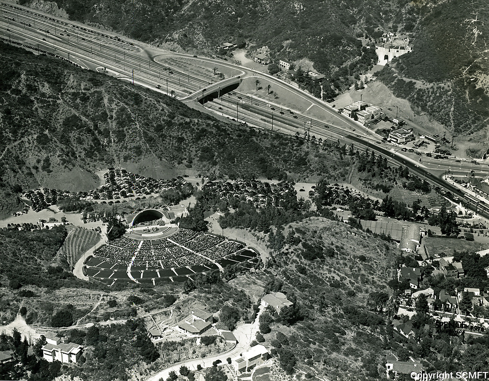 1941 Aerial of The Hollywood Bowl and Cahuenga Pass