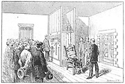 Execution by electric chair.   Kemmler, the first man executed by electric chair, Auburn Prison, USA, 6 August 1890.  Alternating Current used; three surges were needed for the execution.   Westinghouse apparatus used. From 'La Nature', Paris, 6 September 1890 .