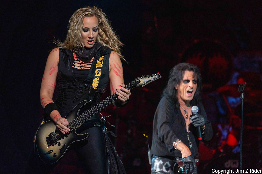After nearly 19 months off stage, Rock and Roll legend ALICE COOPER, 73, launches his fall 2021 tour at Ocean Casino Resort in Atlantic City, New Jersey.  NITA STRAUSS, vocals and guitar, is at left.