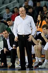 Coach of Partizan Dusko Vujosevic at first semifinal match of League NLB Final Four tournament  between KK Partizan Beograd and Hemofarm STADA Vrsac, on April 23, 2010, in Arena Zagreb, Zagreb, Croatia.  (Photo by Vid Ponikvar / Sportida)