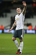 Phil Jones of Manchester United celebrates after full time. Premier league match, West Ham Utd v Manchester Utd at the London Stadium, Queen Elizabeth Olympic Park in London on Monday 2nd January 2017.<br /> pic by John Patrick Fletcher, Andrew Orchard sports photography.