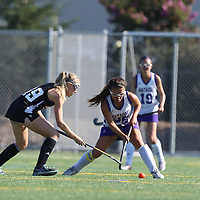 (Photograph by Bill Gerth for SVCN) Monta Vista #26 Danielle Koontz and Los Gatos #19 Natalie Deck battle for the ball in a Girls Field Hockey Game at Monta Vista High School, Cupertino CA on 9/16/16.  (Los Gatos 10 Monta Vista 0)