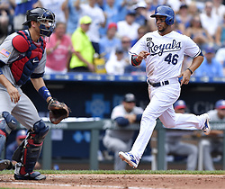 July 2, 2017 - Kansas City, MO, USA - Kansas City Royals' Ramon Torres scores in front of Minnesota Twins catcher Jason Castro on a double by Alcides Escobar in the fourth inning on Sunday, July 2, 2017 at Kauffman Stadium in Kansas City, Mo. (Credit Image: © John Sleezer/TNS via ZUMA Wire)