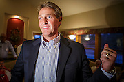28 AUGUST 2012 - MESA, AZ:  Congressman JEFF FLAKE, (R-AZ) makes his victory speech home in Mesa, AZ, on election night. Flake is the incumbent Congressman from Arizona's 6th Congressional District. He won the Republican primary for the US Senate seat being vacated by retiring Senator Jon Kyl. Flake faced Arizona businessman and political newcomers Wil Cardon in the primary and won handily.    PHOTO BY JACK KURTZ