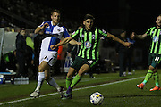 Lee Brown of Bristol Rovers FC, Connor Smith of AFC Wimbledon battle during the Sky Bet League 2 match between Bristol Rovers and AFC Wimbledon at the Memorial Stadium, Bristol, England on 8 March 2016. Photo by Stuart Butcher.