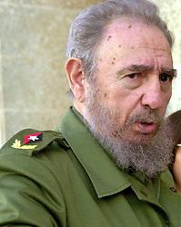 Cuban President Fidel Castro responds to questions from members of a Tribune delegation visiting the commander-in-chief at the Palacio de la Revolucion in Havana, Cuba, on March 16, 2001. Photo by Alex Garica/Chicago Tribune/MCT/ABACAPRESS.COM  | 102877_01 Havana Cuba