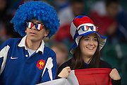 Twickenham, Great Britain, French Supporters with Wigs TriColour glasses and Tricolour Hat    France vs Italy 2015 Rugby World Cup, played at the RFU Stadium, Twickenham, ENGLAND. Sunday 07/11/2010  Saturday 19/09/2015<br /> [Mandatory Credit; Peter Spurrier/Intersport-images]