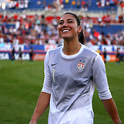 U.S. goalkeeper Hope Solo (1) is seen after an international friendly soccer match between the United States Women's National soccer team and the Russia National soccer team at FAU Stadium on Saturday, February 8, in Boca Raton, Florida. (AP Photo/Alex Menendez)