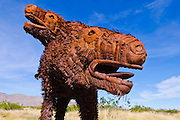 Metal sloth sculptures by Ricardo Breceda at Galleta Meadows Estate, Borrego Springs, California USA