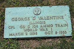 31 August 2017:   Veterans graves in Park Hill Cemetery in eastern McLean County.<br /> <br /> George D Valentime Illinois  Corporal  Co G 108 Ammo Train  World War I  March 2 1898  Oct 1955