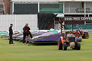 Covers on again at Grace Rd during the Specsavers County Champ Div 2 match between Leicestershire County Cricket Club and Gloucestershire County Cricket Club at the Fischer County Ground, Grace Road, Leicester, United Kingdom on 18 June 2019.