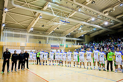 Team Slovenia listening to the national anthem during friendly handball match between National Teams of Slovenia and F.Y.R. of Macedonia on December 28, 2013 in Sports hall Polaj, Trbovlje, Slovenia. Photo by Vid Ponikvar / Sportida