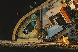 THEMENBILD - Swimming Pool mit Delfin Fliesen eines geschlossenen Hotels, aufgenommen am 04. Juli 2020 in Umag, Kroatien // Swimming pool with dolphin tiles of a closed hotel in Umag, Croatia on 2020/07/04. EXPA Pictures © 2020, PhotoCredit: EXPA/ JFK