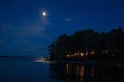 Southwest Harbor, ME - 8 August 2014. Moon over Clark Point, Southwest Harbor.