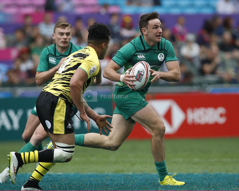 April 6, 2018 - Hong Kong, HONG KONG - Hugo Keenan (8) of Ireland in action against Jamaica during the 2018 Hong Kong Rugby Sevens at Hong Kong Stadium in Hong Kong. (Credit Image: © David McIntyre via ZUMA Wire)