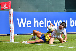 Elissa Alarie of Canada scores a try<br /> <br /> Photographer Craig Thomas/Replay Images<br /> <br /> World Rugby HSBC World Sevens Series - Day 2 - Friday 6rd December 2019 - Sevens Stadium - Dubai<br /> <br /> World Copyright © Replay Images . All rights reserved. info@replayimages.co.uk - http://replayimages.co.uk