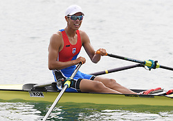 PALEMBANG, Aug. 24, 2018  Gold medalist Park Hyunsu of South Korea reacts after the men's lightweight single sculls final of the rowing event at the Asian Games 2018 in Palembang, Indonesia on Aug. 24, 2018. (Credit Image: © Cheng Min/Xinhua via ZUMA Wire)