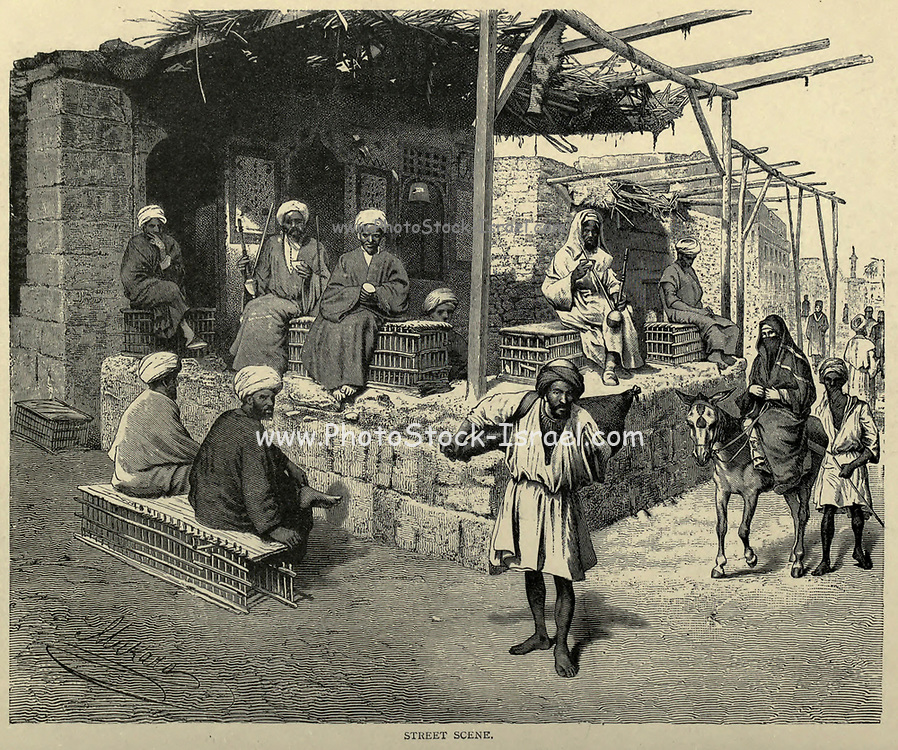 wood engraving of a Street Scene in Cairo From the book 'Picturesque Palestine, Sinai and Egypt : social life in Egypt; a description of the country and its people' with illustrations on Steel and Wood by Wilson, Charles William, Sir, 1836-1905; Lane-Poole, Stanley, 1854-1931. Published by J.S. Virtue in London in 1884