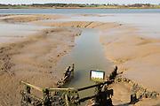 Drainage sluice into the River Deben, Sutton, Suffolk, England, UK