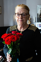 Widow Ann Anderson who had her partially toothless little Yorkshire Terrier Albert 'arrested' by the police after it was alleged her dog had attacked a post office worker with a vase of roses given to her by a well-wisher. . London, September 10 2018.
