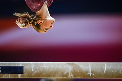 October 28, 2018 - Doha, Quatar - Mette Hulgaard of  Denmark   during  Balancing Beam qualification at the Aspire Dome in Doha, Qatar, Artistic FIG Gymnastics World Championships on 28 of October 2018. (Credit Image: © Ulrik Pedersen/NurPhoto via ZUMA Press)