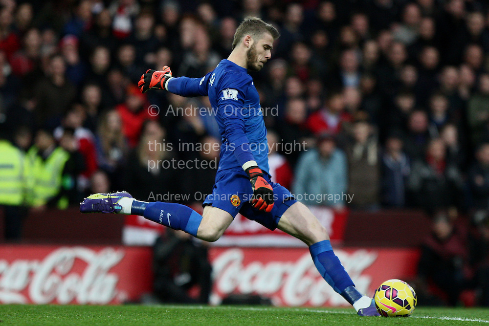 David De Gea of Manchester United kicks from goal. Barclays Premier league match, Aston Villa v Manchester Utd at Villa Park in Birmingham on Saturday 20th December 2014<br /> pic by Mark Hawkins, Andrew Orchard sports photography.