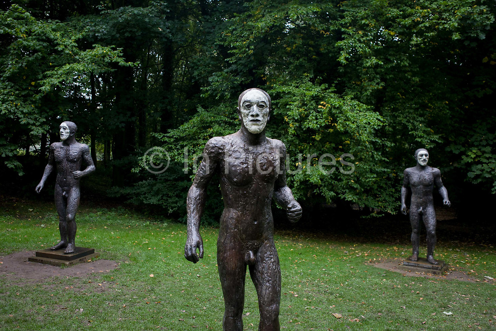 Three figures by artist Elisabeth Frink at the Yorkshire Sculpture Park. Frink was a leading figure in British sculpture. She studied at the Chelsea School of Art from 1949-1953 and was part of the post-war group of British sculptors, which included Kenneth Armitage and Eduardo Paolozzi, who became known as the Geometry of Fear school.