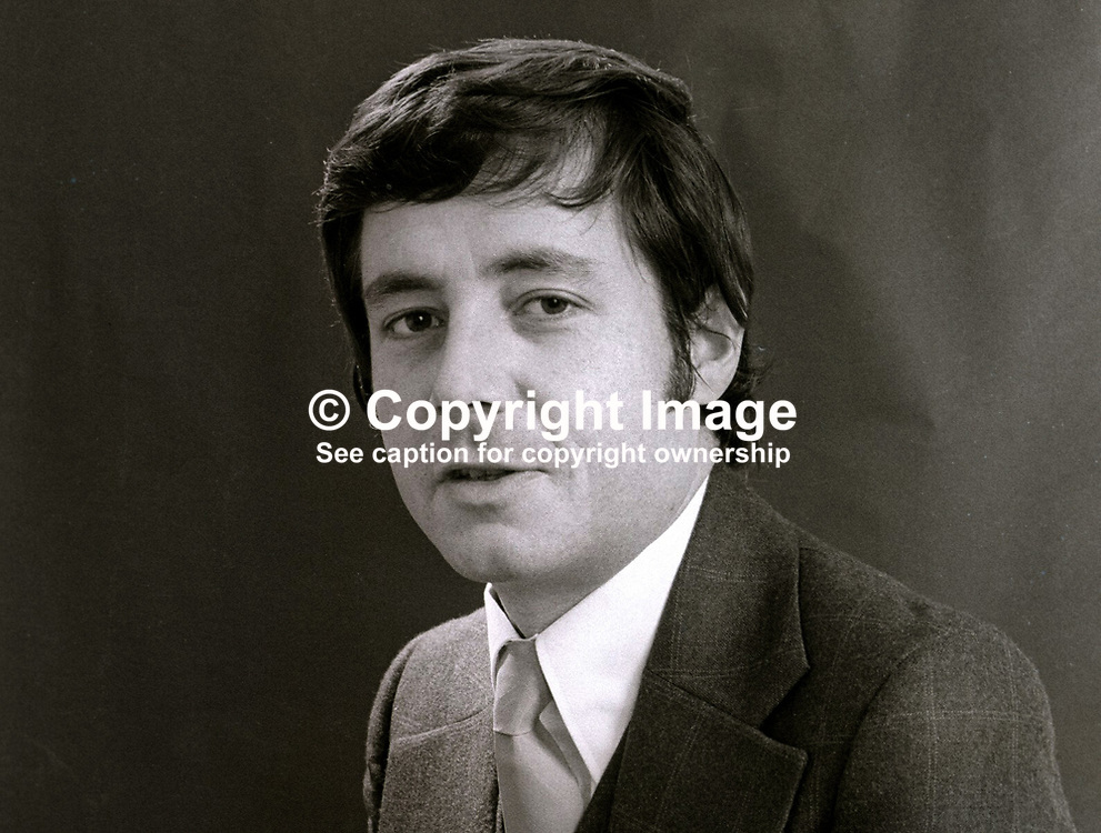 Tony Cowdy, journalist, formerly public relations officer with Alliance Party of N Ireland. November, 1973. 197311080672<br /> <br /> Copyright Image from Victor Patterson, Belfast, UK<br /> <br /> t: +44 28 9066 1296 (from Rep of Ireland 048 9066 1296)<br /> m: +44 7802 353836<br /> e: victorpattersonbelfast@gmail.com<br /> <br /> www.images4media.com<br /> <br /> Please see my full Terms and Conditions of Use at https://www.images4media.com/p/terms-conditions - it is IMPORTANT that you familiarise yourself with them.<br /> <br /> Images used online incur an additional cost. This cost should be agreed in writing in advance. Online images must be visibly watermarked i.e. © Victor Patterson or that of the named photographer within the body of the image. The original metadata must not be deleted from images used online.<br /> <br /> This image is only available for the use of the download recipient i.e. television station, newspaper, magazine, book publisher, etc, and must not be passed on to a third party. It is also downloaded on condition that each and every usage is notified within 7 days to victorpattersonbelfast@gmail.com.<br /> <br /> The right of Victor Patterson (or the named photographer) to be identified as the author is asserted in accordance with The Copyright Designs And Patents Act (1988). All moral rights are asserted.