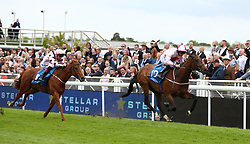 No Lippy ridden by P.J. McDonald (right) wins the Stellar Group Lily Agnes Conditions Stakes ahead of Lihou ridden by Fran Berry during City Day of the 2018 Boodles May Festival at Chester Racecourse.