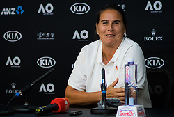 January 21, 2019 - Melbourne, AUSTRALIA - Conchita Martinez, coach of Karolina Pliskova, talks to the media after her fourth-round match at the 2019 Australian Open Grand Slam tennis tournament (Credit Image: © AFP7 via ZUMA Wire)