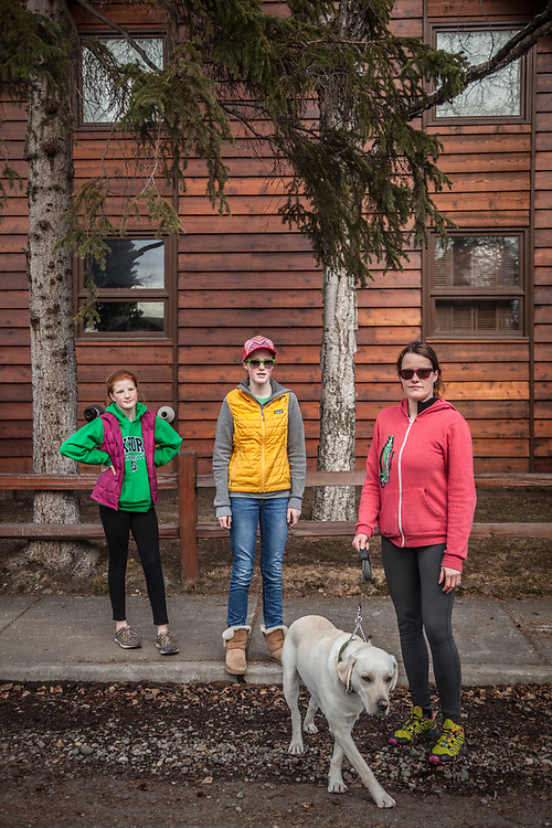 Beth Kemp with her daughters Maya (13) and Ani (11) and her dog, Sam, near their home in Anchorage's South Addition neighborhood  beth.kemp@gmail.com