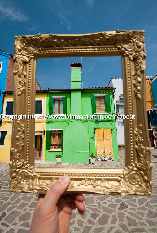 Colourful houses in village of Burano near Venice in Italy