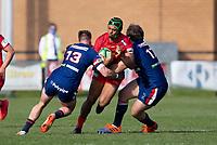 Rugby Union - 2020 / 2021 IPA Greene King Championship - Doncaster Knights vs Saracens - Castle Park, Doncaster.<br /> <br /> Elliott Obatoyinbo of Saracens is tackled by Charlie Foley of Doncaster Knights<br /> <br /> Credit : COLORSPORT/BRUCE WHITE