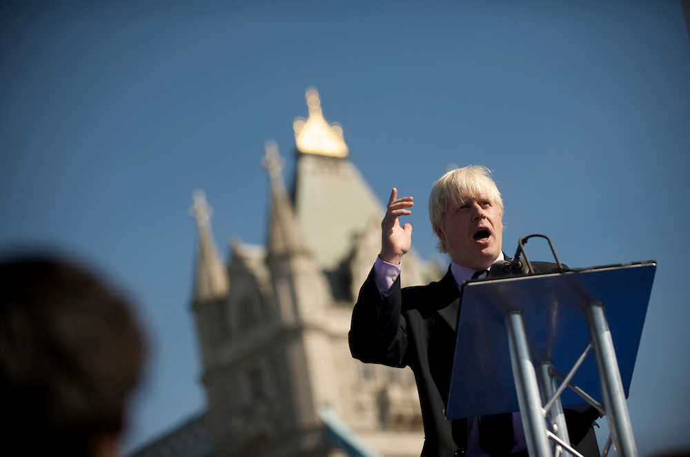 London.  September 26, 2008.  London Mayor Boris Johnson delivers a speech during the Olympic flag handover ceremony in Potter Fields Park for the 2012 games. Lord Sebastian Coe, Olympic Minister Tessa Jowell MP, 400m gold medal winner Christine Ohuruogu, 1948 Olympians, and 2012 hopefuls were also in attendance.  (Photo by Mark Bryan Makela)