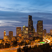 Seattle skyline and interstate highway