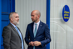 Pictured: Citizens Advice Scotland's CEO Derek Mitchell and Ben Macpherson<br />Migration Minister Ben Macpherson visited the Citizens Advice Centre in Leith today to  reveal details of the service introduced as a result of Brexit. Mr Macpherson met Citizens Advice Scotland's CEO Derek Mitchell during his visit.<br /><br />Ger Harley| EEm 18 Decdember 2018