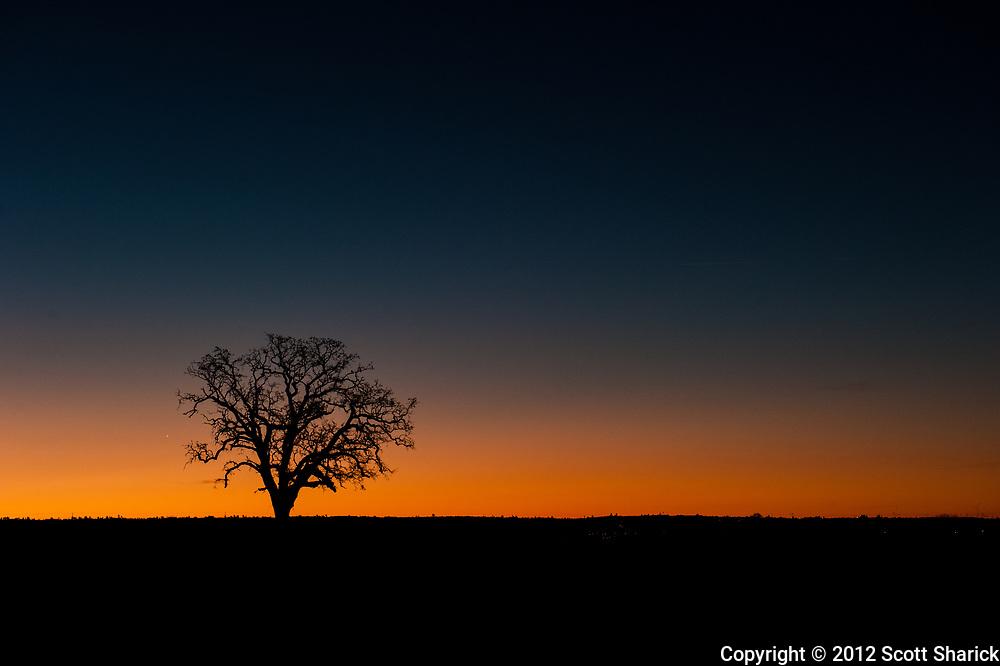 A beautiful California sunrise outside of Sacramento.