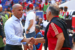 September 30, 2018 - Harrison, NJ, U.S. - HARRISON, NJ - SEPTEMBER 30:  New York Red Bulls head coach Chris Armas shakes hands with  Atlanta United head coach Gerardo ''Tata'' Martino prior to the Major League Soccer game between the New York Red Bulls and Atlanta United on September 30, 2018 at Red Bull Arena in Harrison, NJ.  (Photo by Rich Graessle/Icon Sportswire) (Credit Image: © Rich Graessle/Icon SMI via ZUMA Press)