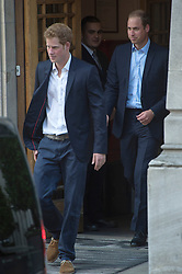 Prince William and Prince Harry leave the London Clinic, after visiting The Duke of Edinburgh,<br /> Friday, 14th June 2013<br /> Picture by  i-Images