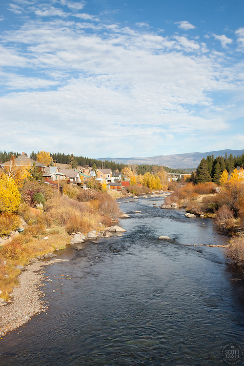 """""""Downtown Truckee River"""" - Photograph of the Truckee River in Downtown Truckee, CA in the fall."""